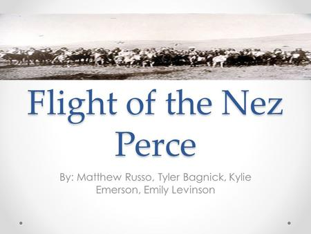 Flight of the Nez Perce By: Matthew Russo, Tyler Bagnick, Kylie Emerson, Emily Levinson.