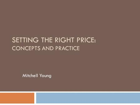SETTING THE RIGHT PRICE: CONCEPTS AND PRACTICE Mitchell Young.