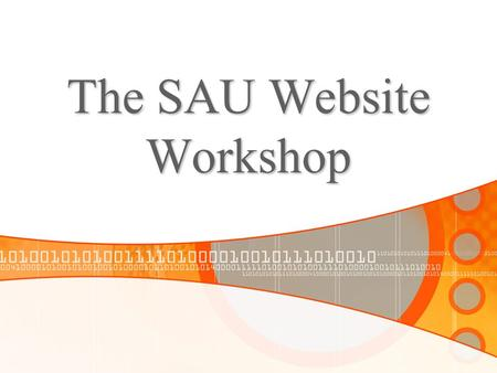 The SAU Website Workshop. Using the site Website Management The Campus Directory Form Manager Other available resources.