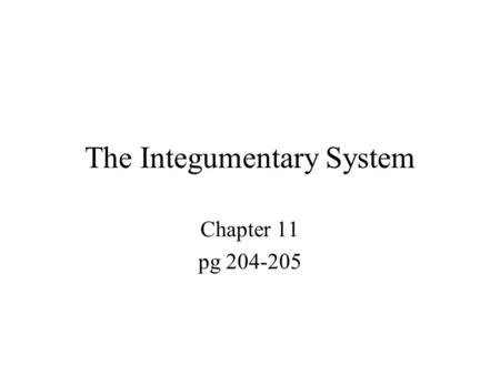 The Integumentary System Chapter 11 pg 204-205. The Integumentary System Composed of the skin, sweat and oil glands, hair, and nails Accounts for 7% of.