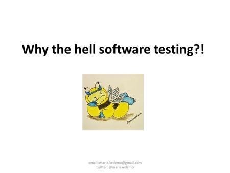 Why the hell software testing?!