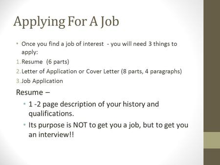 Applying For A Job Resume –