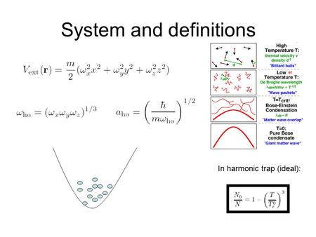 System and definitions In harmonic trap (ideal): er.