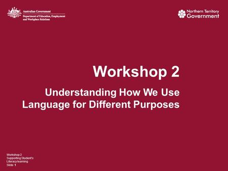 Workshop 2 Understanding How We Use Language for Different Purposes