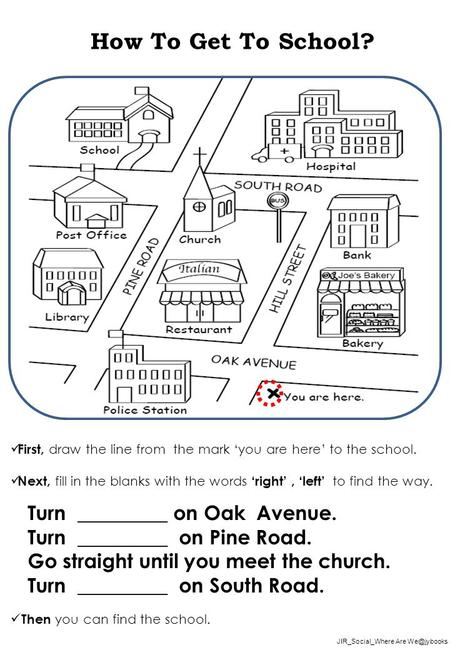JIR_Social_Where Are How To Get To School? First, draw the line from the mark 'you are here' to the school. Next, fill in the blanks with the.