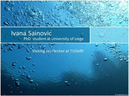 Ivana Sainovic PhD student at University of Liege Visiting researcher at TUDelft.