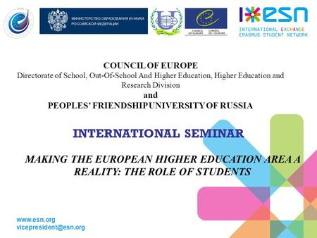 COUNCIL OF EUROPE Directorate of School, Out-Of-School And Higher Education, Higher Education and Research Division and.