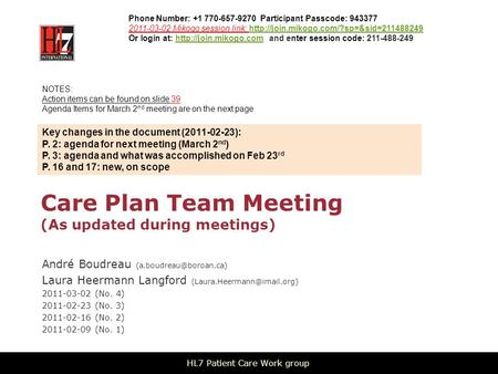 Care Plan Team Meeting (As updated during meetings) André Boudreau Laura Heermann Langford 2011-03-02.