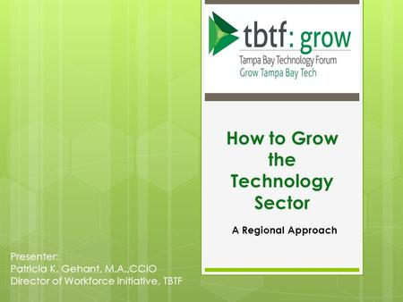 How to Grow the Technology Sector A Regional Approach Presenter: Patricia K. Gehant, M.A.,CCIO Director of Workforce Initiative, TBTF.