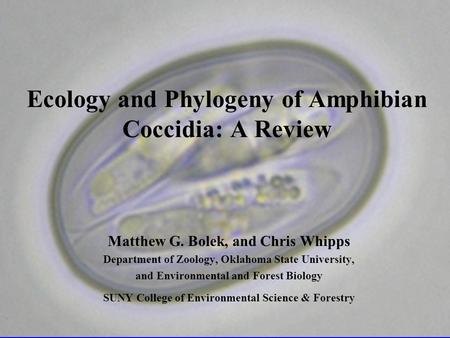 Ecology and Phylogeny of Amphibian Coccidia: A Review Matthew G. Bolek, and Chris Whipps Department of Zoology, Oklahoma State University, and Environmental.