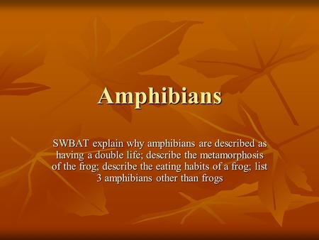 Amphibians SWBAT explain why amphibians are described as having a double life; describe the metamorphosis of the frog; describe the eating habits of a.