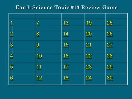 Earth Science Topic #13 Review Game