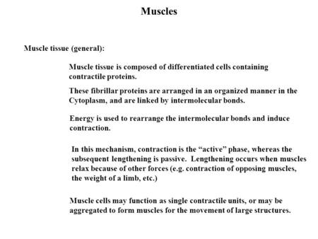 Muscles Muscle tissue (general): Muscle tissue is composed of differentiated cells containing contractile proteins. Muscle cells may function as single.