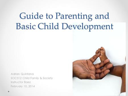 Guide to Parenting and Basic Child Development Adrian Quintana SOC312 Child Family & Society Instructor Baez February 10, 2014.