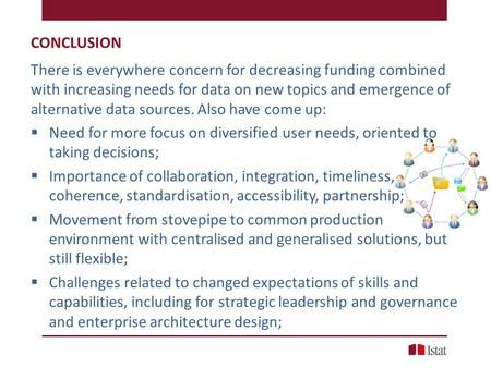 CONCLUSION There is everywhere concern for decreasing funding combined with increasing needs for data on new topics and emergence of alternative data sources.