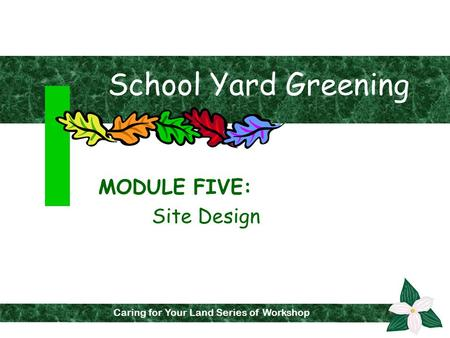 Caring for Your Land Series of Workshops Caring for Your Land Series of Workshop School Yard Greening MODULE FIVE: Site Design.