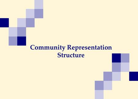 Community Representation Structure. Site Coordinating Centers (SCC) Community Advisory Boards (CABs) Leadership Level Cross-Network Level Network Level.