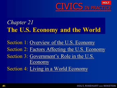 Chapter 21 The U.S. Economy and the World