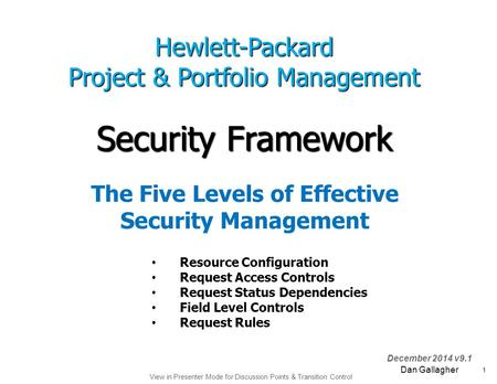 View in Presenter Mode for Discussion Points & Transition Control 1 December 2014 v9.1 Security Framework Dan Gallagher Hewlett-Packard Project & Portfolio.