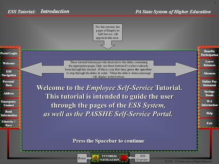 PA State System of Higher Education © 2009 PA State System of Higher Education TUTORIALNAVIGATION Bank Information Emergency Contact Address Personal Data.