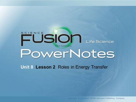Unit 8 Lesson 2 Roles in Energy Transfer