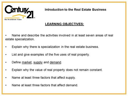 Name and describe the activities involved in at least seven areas of real estate specialization. Explain why there is specialization in the real estate.