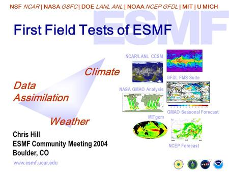 NSF NCAR | NASA GSFC | DOE LANL ANL | NOAA NCEP GFDL | MIT | U MICH www.esmf.ucar.edu First Field Tests of ESMF GMAO Seasonal Forecast NCAR/LANL CCSM NCEP.