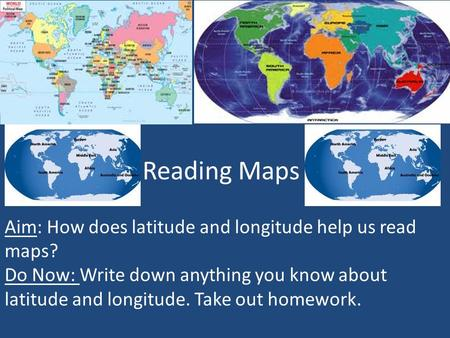 Reading Maps Aim: How does latitude and longitude help us read maps?