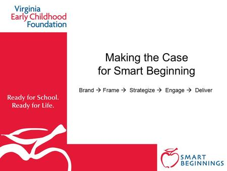 Making the Case for Smart Beginning Brand  Frame  Strategize  Engage  Deliver.