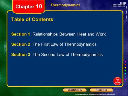 Chapter 10 Table of Contents