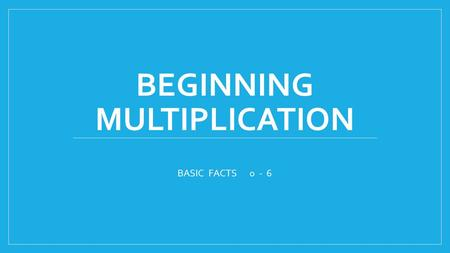 BEGINNING MULTIPLICATION BASIC FACTS 0 - 6. Multiplication is REPEATED ADDITION. It is a shortcut to skip counting. The first number in the problem tells.