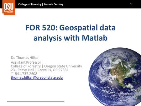 FOR 520: Geospatial data analysis with Matlab