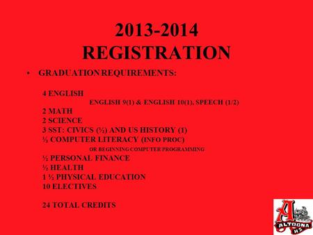 2013-2014 REGISTRATION GRADUATION REQUIREMENTS: 4 ENGLISH ENGLISH 9(1) & ENGLISH 10(1), SPEECH (1/2) 2 MATH 2 SCIENCE 3 SST: CIVICS (½) AND US HISTORY.