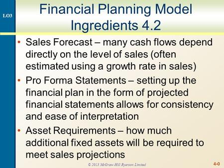 4-0 Financial Planning Model Ingredients 4.2 Sales Forecast – many cash flows depend directly on the level of sales (often estimated using a growth rate.