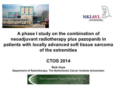 A phase I study on the combination of neoadjuvant radiotherapy plus pazopanib in patients with locally advanced soft tissue sarcoma of the extremities.
