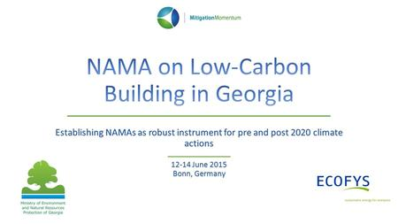 Establishing NAMAs as robust instrument for pre and post 2020 climate actions 12-14 June 2015 Bonn, Germany.