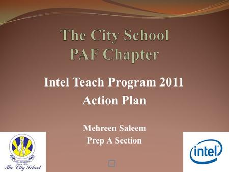 Intel Teach Program 2011 Action Plan Mehreen Saleem Prep A Section.