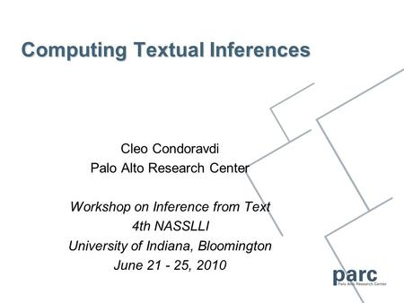 Computing Textual Inferences Cleo Condoravdi Palo Alto Research Center Workshop on Inference from Text 4th NASSLLI University of Indiana, Bloomington June.