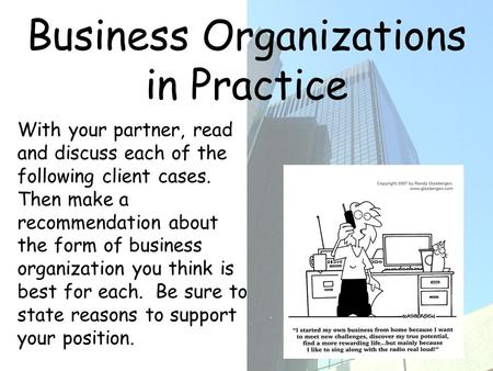 Business Organizations in Practice