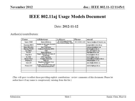 Doc.: IEEE 802.11-12/1145r1 Submission November 2012 Jiamin Chen, HuaweiSlide 1 IEEE 802.11aj Usage Models Document Date: 2012-11-12 Author(s)/contributors: