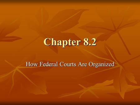 Chapter 8.2 How Federal Courts Are Organized. U.S. District Courts District Courts are the federal courts where trials are held and lawsuits are begun.