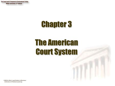 Chapter 3 The American Court System. 2 Chapter Objectives 1. Explain the concepts of jurisdiction and venue. 2. State the requirements for federal jurisdiction.