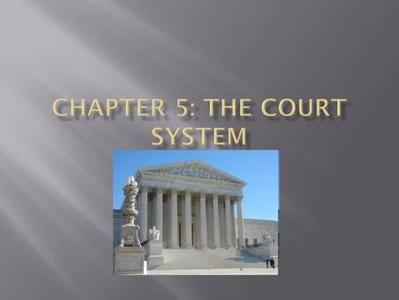  Trial Courts : listen to testimony, consider evidence, and decide the facts in disputed situations  In a CIVIL case the party bringing the case is.