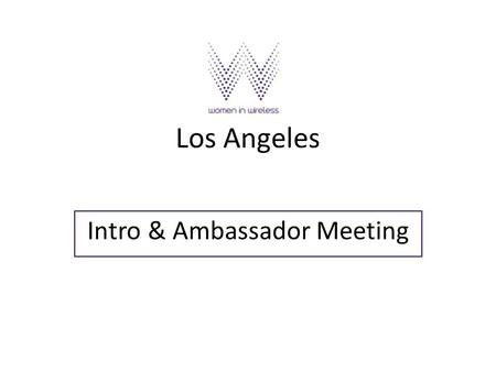 Los Angeles Intro & Ambassador Meeting. Meeta Chawla VP, Client Services & Consumer Insights at Briabe Mobile WIW Role: Primary Liason/Communications.