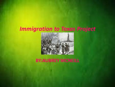 Immigration to Texas Project BY:AUBREY MCNEILL. INTRODUCTION This presentation will include: -Language of disipline -Details -Trends -Ciatations -The.
