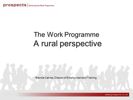 9/10/20151 The Work Programme A rural perspective Brenda Cabras, Director of Employment and Training.