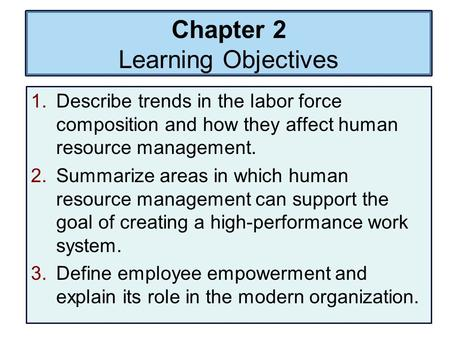 Chapter 2 Learning Objectives 1.Describe trends in the labor force composition and how they affect human resource management. 2.Summarize areas in which.