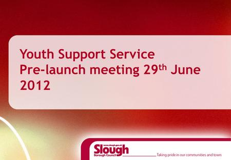Youth Support Service Pre-launch meeting 29 th June 2012.