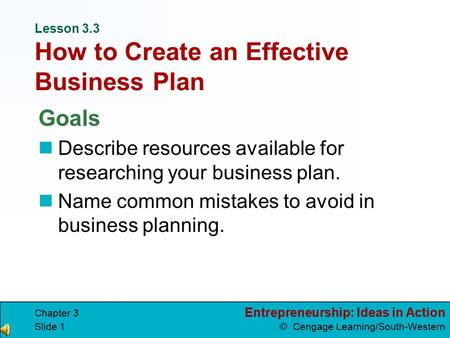 Lesson 3.3 How to Create an Effective Business Plan