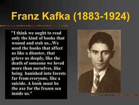 an analysis of kafka who wrote the metamorphosis in 1912 Franz kafka was one of the major fiction writers of the 20th century  his stories include the metamorphosis (1912) and in the penal colony (1914),.
